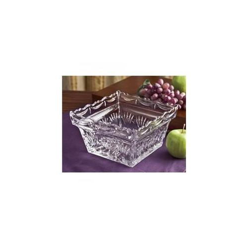 """9"""" Freedom Square Clear Crystal Serving Display Fruit Bowl Dish"""