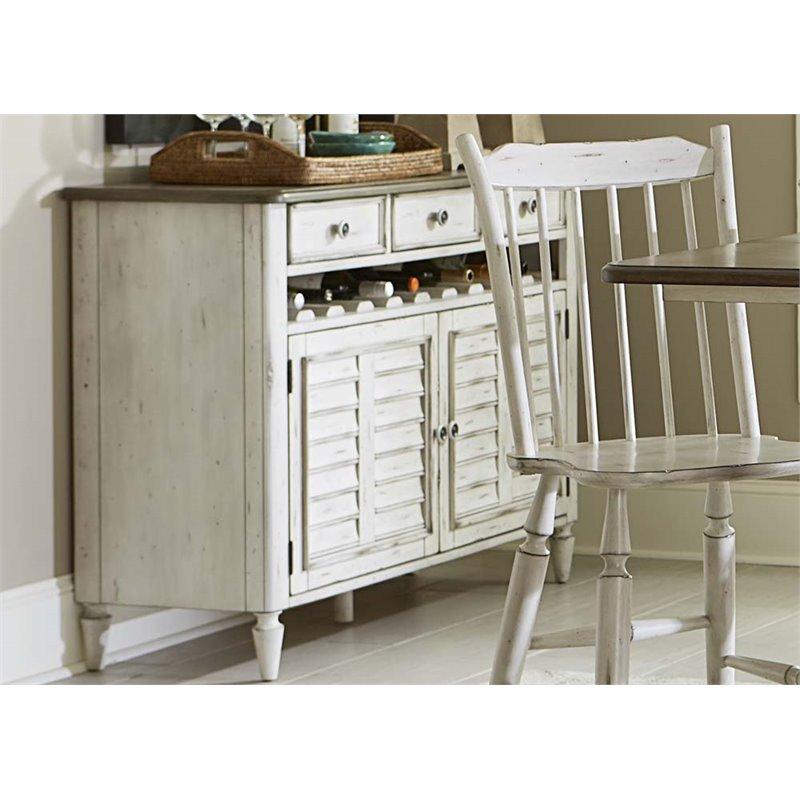 Liberty Furniture Oak Hill Wine Rack Server in Antique White