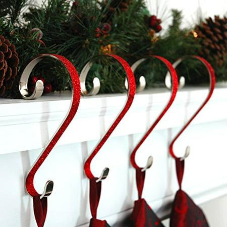 Stocking Scrolls Stocking Hanger, 4-pack, Glitter Red ()