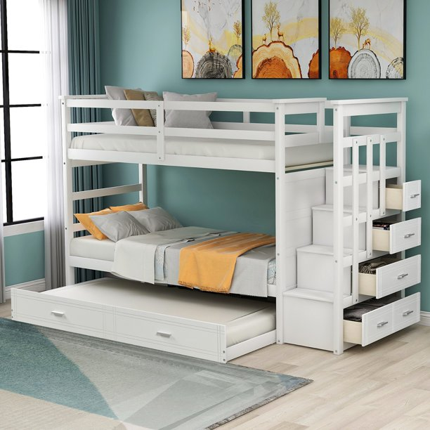 Sentern Twin Over Twin Solid Wood Bunk Bed With Trundle Staircase 4 Storage Drawers Walmart Com Walmart Com