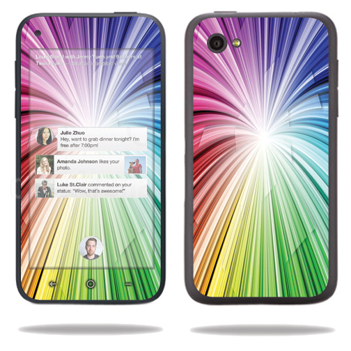 Mightyskins Protective Vinyl Skin Decal Cover for HTC First Cell Phone wrap sticker skins Rainbow Explosion