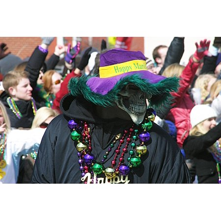 Canvas Print Mardi Gras Event Hat Parade Festival Beads Mask Stretched Canvas 10 x 14 - Mardi Gras Hats