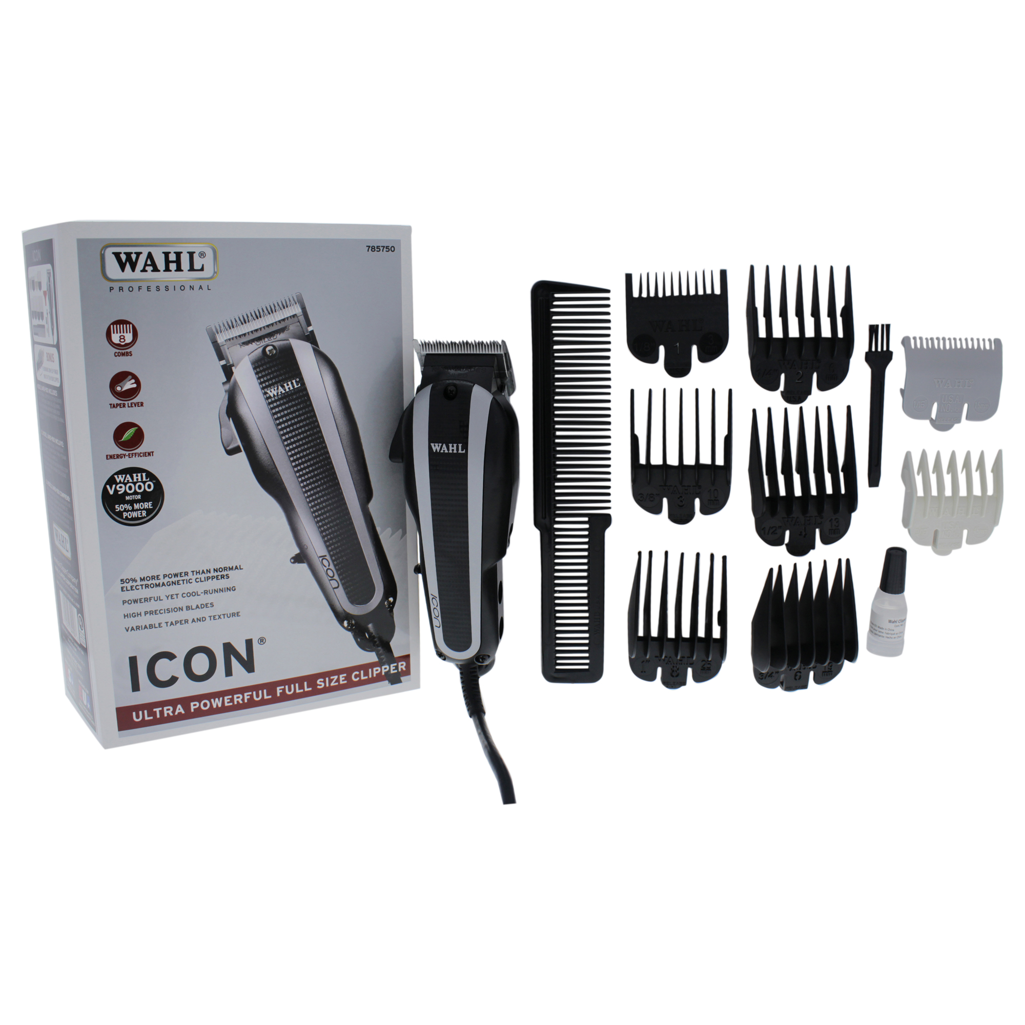 WAHL Professional Icon Ultra Powerful Full Size Clipper - Model # 8490-900 - Black/Silver - 1 Pc Clipper