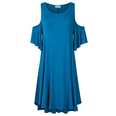 db26e58e2daf Women's Cold Shoulder Plus Size Casual T-Shirt Swing Dress with Pockets -  Walmart.com