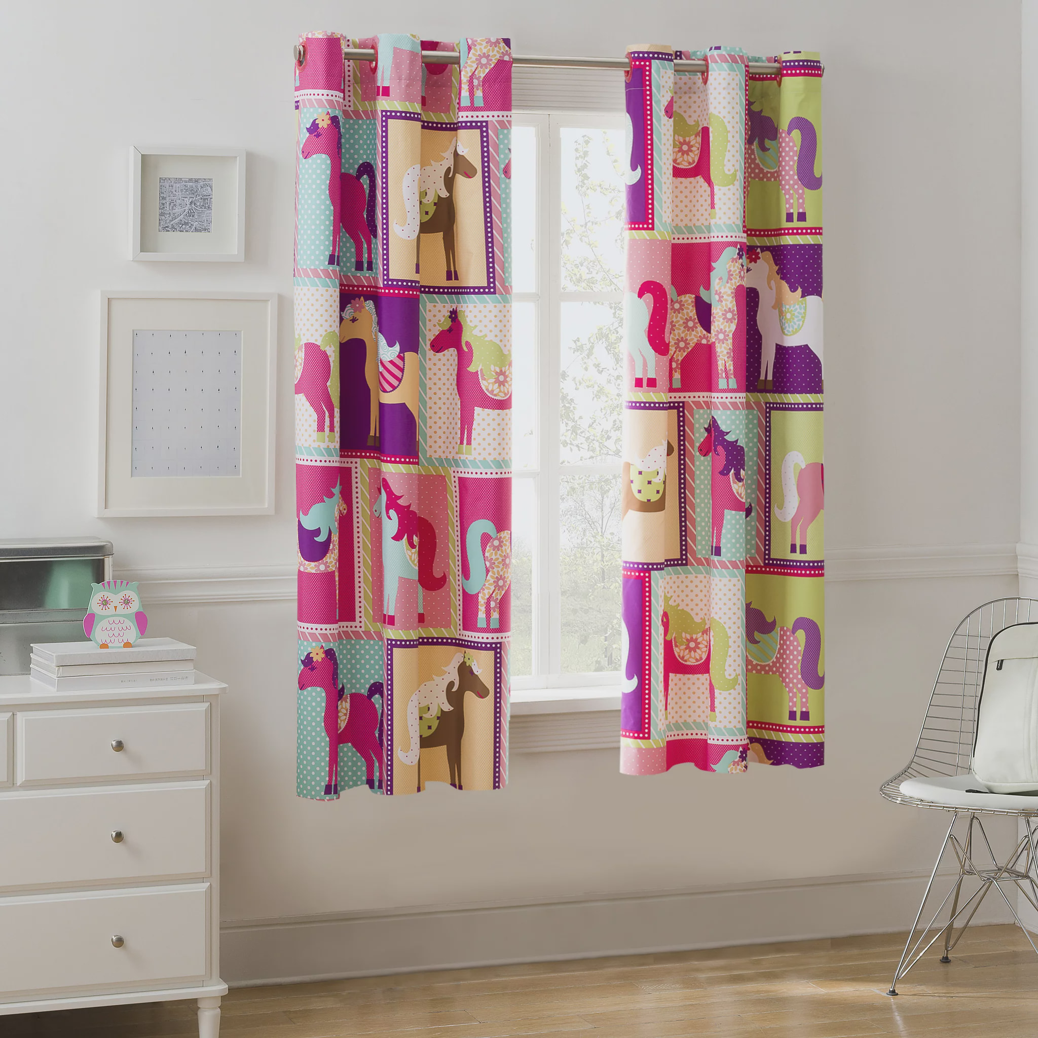 Mainstays Pink Horsey Room Darkening Girls Bedroom Curtain ...