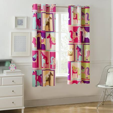 Mainstays Pink Horsey Room Darkening Girls Bedroom Curtain