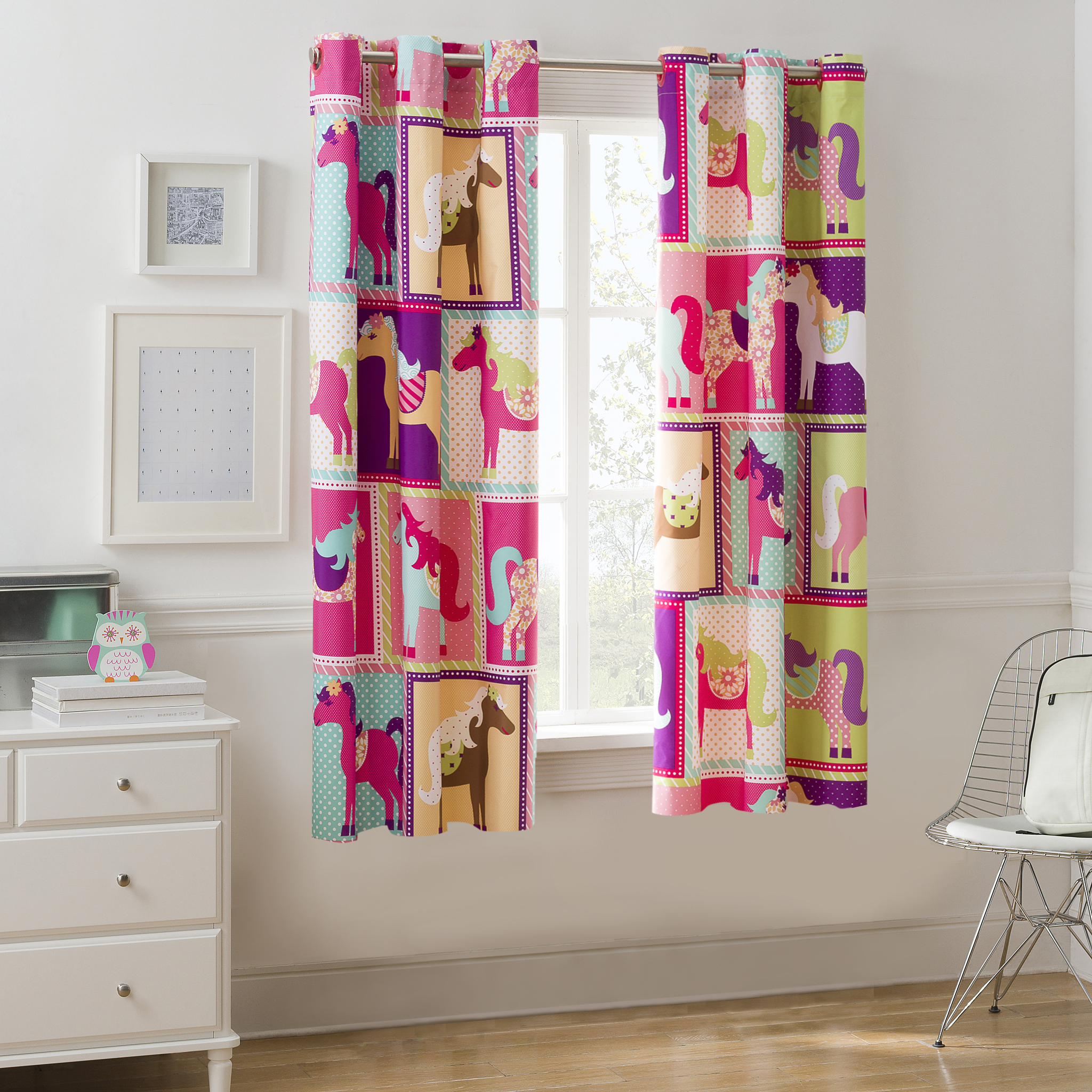 Mainstays Pink Horsey Room Darkening Girls Bedroom Curtain Panel