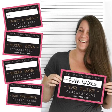 Girls Night Out - Party Mug Shots - Photo Booth Props Bachelorette Party Mug Shots - 10 Count (Bridesmaid Sashes Bachelorette Party)