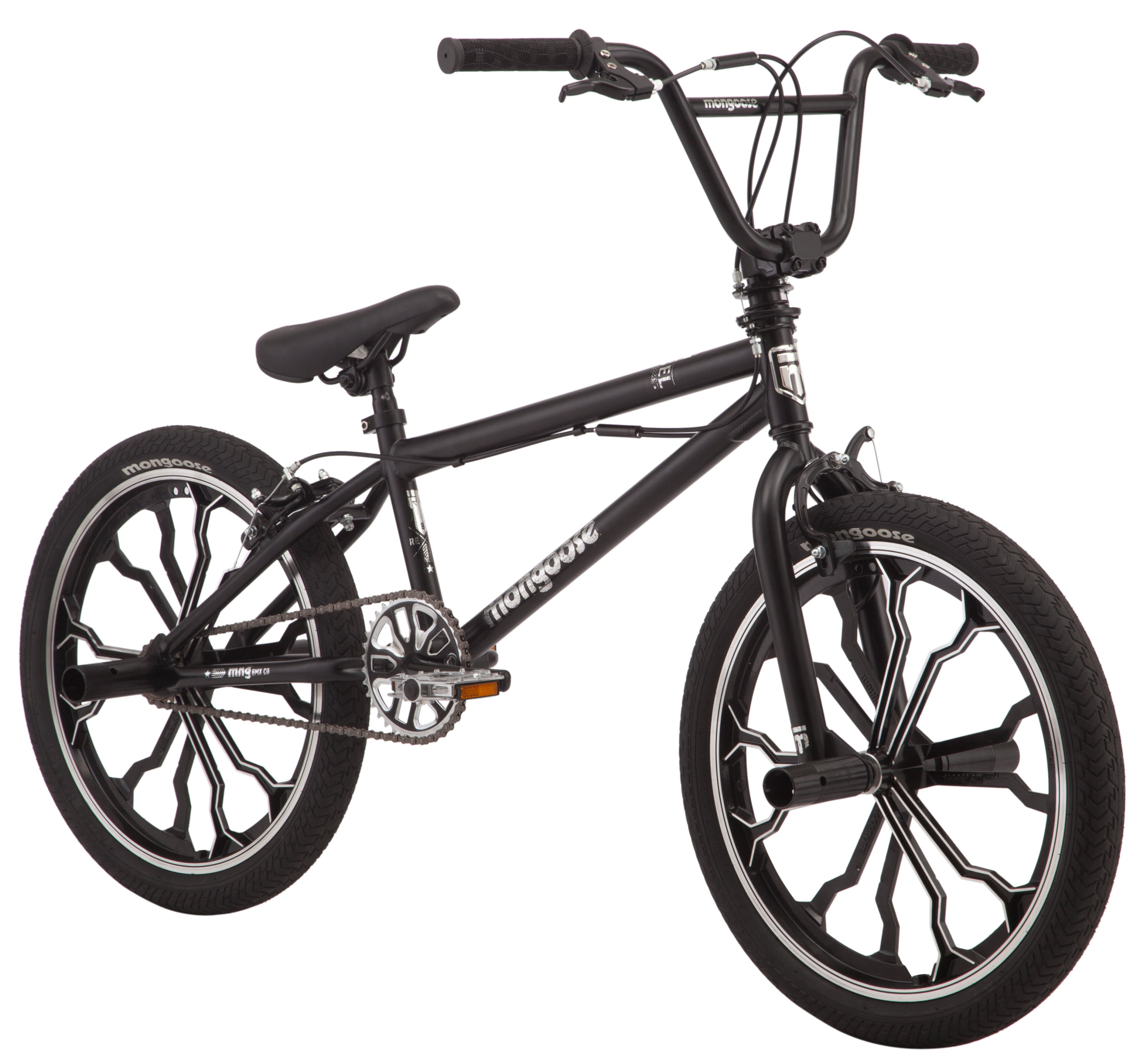 Mongoose Rebel BMX bicycle. Mag Wheel size 20 inches, black, kids style by Pacific Cycle