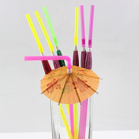 100Pcs/Set Hawaii Umbrella Straw Beach Party Parasol Cocktail Party Paper Drinking Straws ()