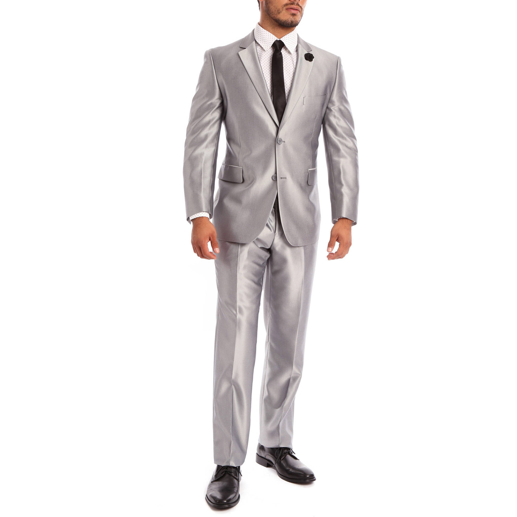Verno Cavallo Big Men's Silver Shark-skin Classic Fit Italian Styled Two Piece Suit
