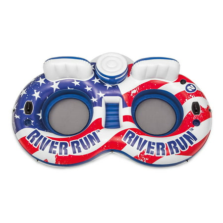 Intex 56855VM American Flag Inflatable 2 Person Pool Tube Float with Cooler ()