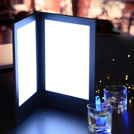 "Yescom 8-1/2""x14"" 2-panel Folding LED Menu Cover Backlit Illuminated with Lighting Black Leatherette Holder/check Presenter"