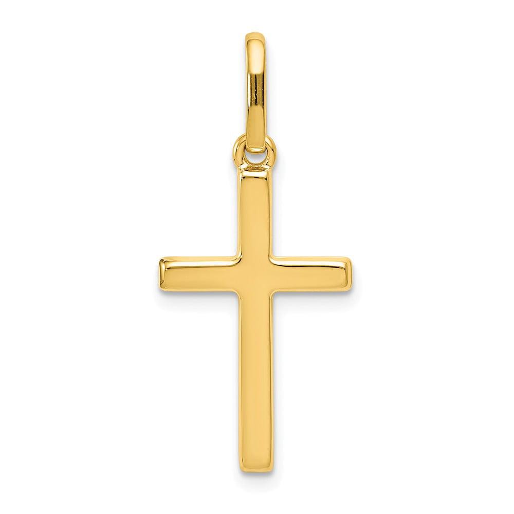 14k Yellow Gold Hollow Latin Cross Pendant