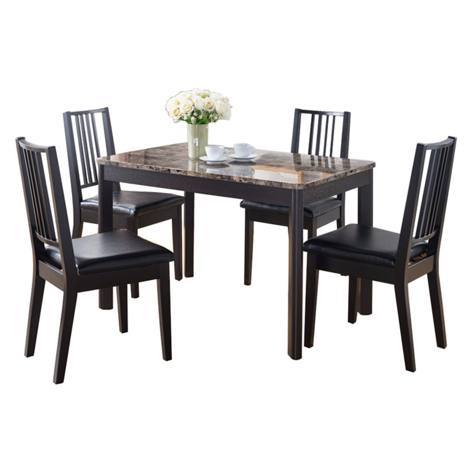 Faux Marble Top Splendid Dining Table, Dark brown