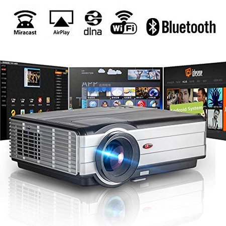 Wireless Bluetooth WiFi HDMI Projector 4200 Lumens 1080P Smart Multimedia Home Theater Cinema 2019 Android 6.0 LCD LED