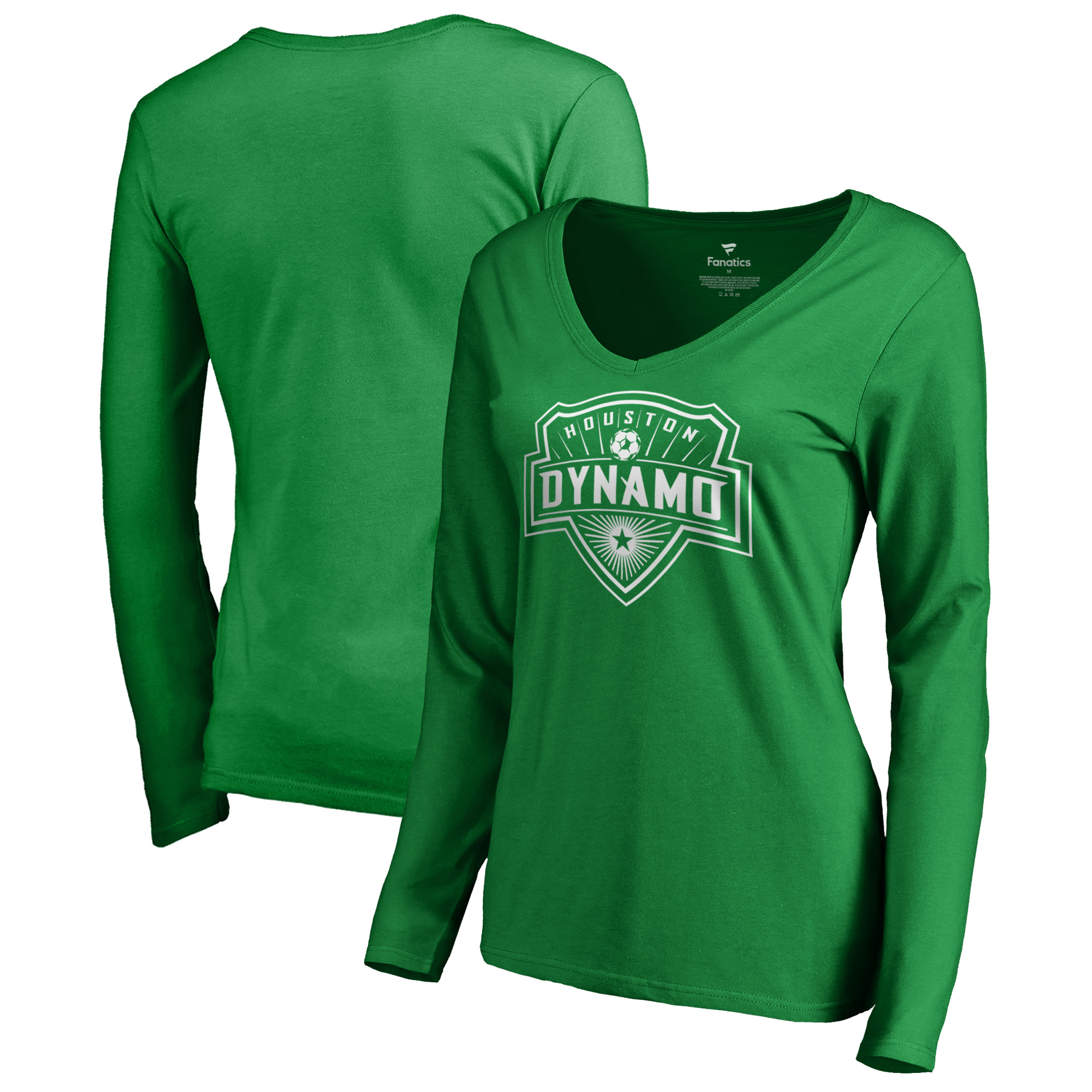 Houston Dynamo Fanatics Branded Women's St. Patrick's Day White Logo Long Sleeve V-Neck T-Shirt - Kelly Green