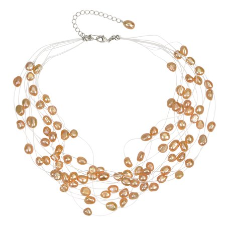 Freeform Baroque Pearl (Multi Strand Baroque Peach Freshwater Cultured Pearl Floating Necklace )