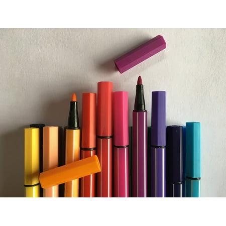 Canvas Print Colored Pencils Felt Tip Pens Colour Pencils Crayons Stretched Canvas 10 x 14 - Pencil Crayons