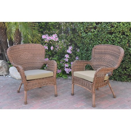Jeco  Windsor Honey Resin Wicker Chairs with Cushions (Set of 2) ()
