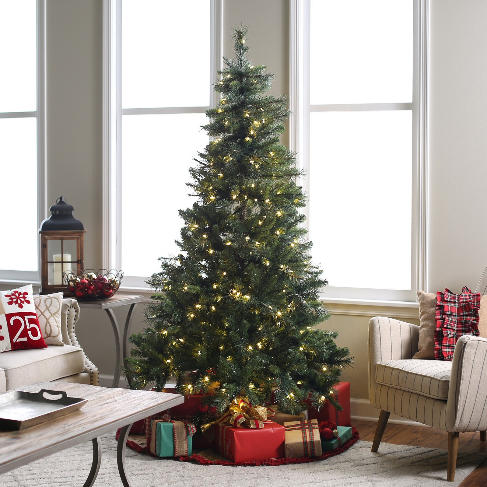 7 ft pre lit led emerald pine christmas tree with bluetooth multi function speaker by sterling tree company walmartcom - 7 Ft Christmas Tree