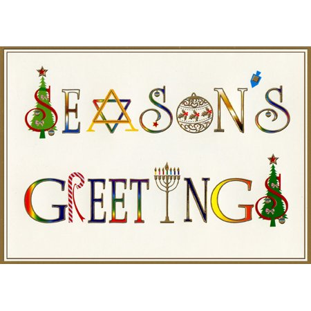 Designer Greetings Season's Greeting Box of 18 Interfaith Christmas Holiday Cards