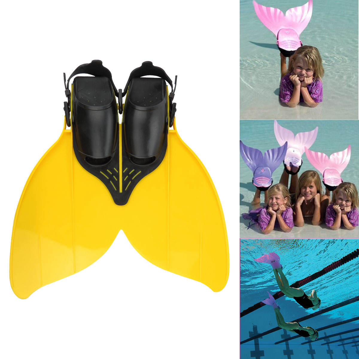Besmall Kids Flippers Mermaid Swimming Fin Diving Monofin for Kids Children Teenager Comfortable Adjustable Swim Foot... by Besmall