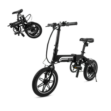 (SwagCycle EB-5 Pro Lightweight and Aluminum Folding EBike with Pedals, Power Assist, and 36V Lithium Ion Battery; Electric Bike with 14 inch Wheels and 250W Hub Motor)