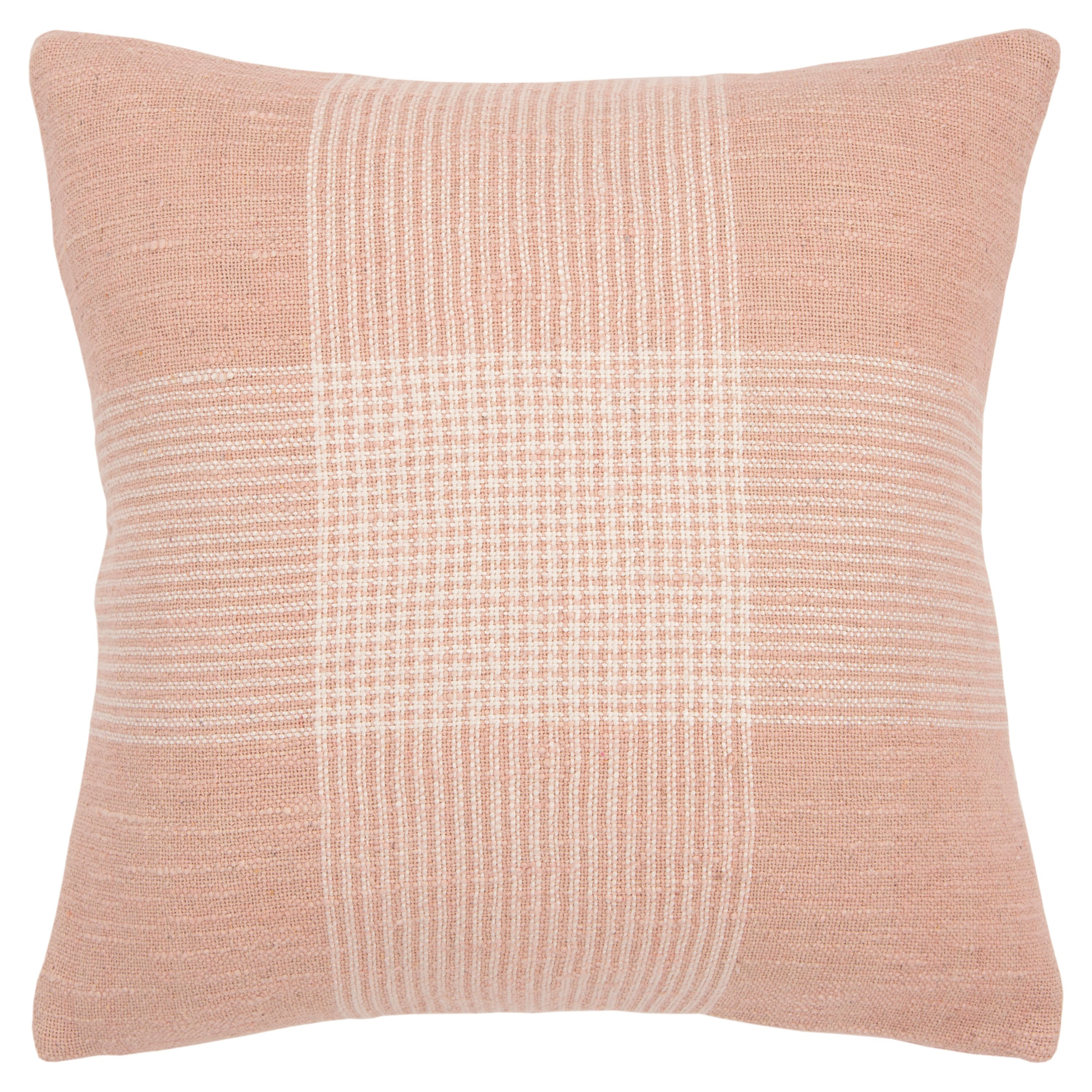 "Rizzy Home Decorative Down Filled Throw Pillow Plaid 20""X20"" Blush"