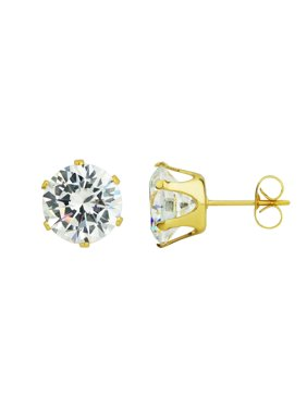 e4088faf7 Product Image 6mm - 10mm Gold Plated Surgical Steel Round CZ Stud Earrings  for Men