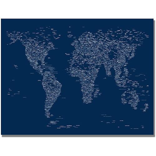 Trademark art font world map canvas art by michael tompsett trademark art font world map canvas art by michael tompsett gumiabroncs Images