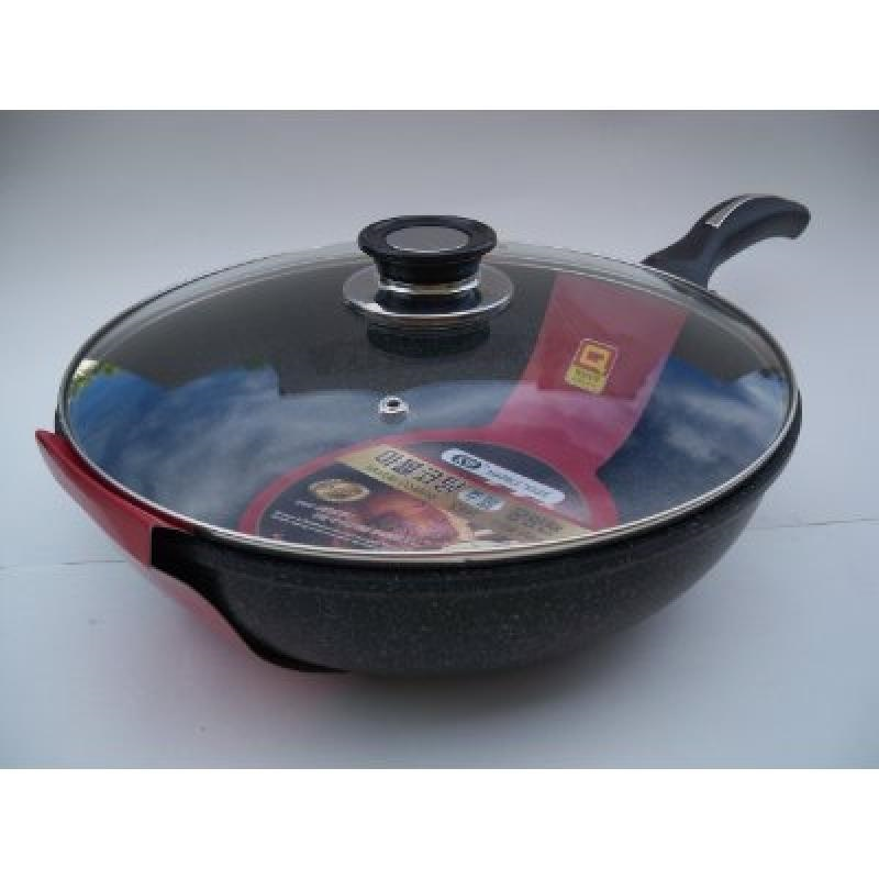 Ceramic Marble Coated Non Stick Cast Aluminium Wok with Lid, 30 cm (12 inches)