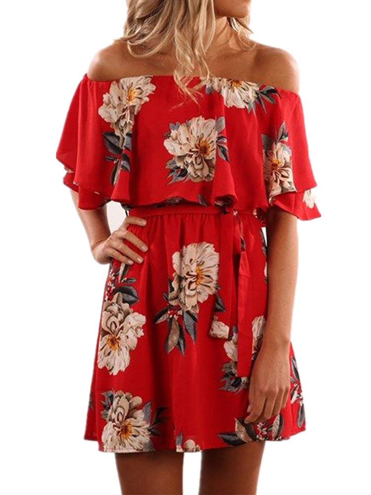 Cold Shoulder Women Flared Print Red Casual Dress