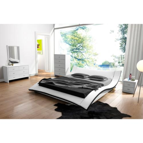 US Pride Furniture Riley White Faux Leather Contemporary Bed