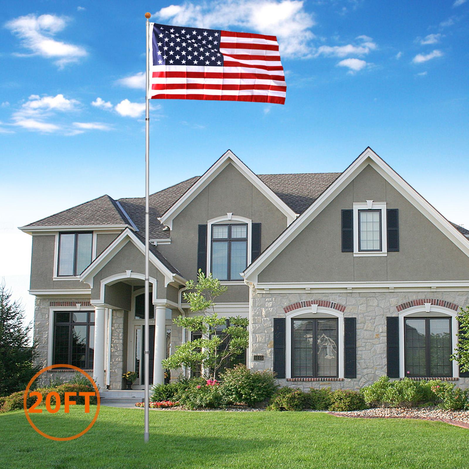 ZENY 20Ft Aluminum Telescoping Flag pole Kit Outdoor Gold Ball + 1 US America Flag New