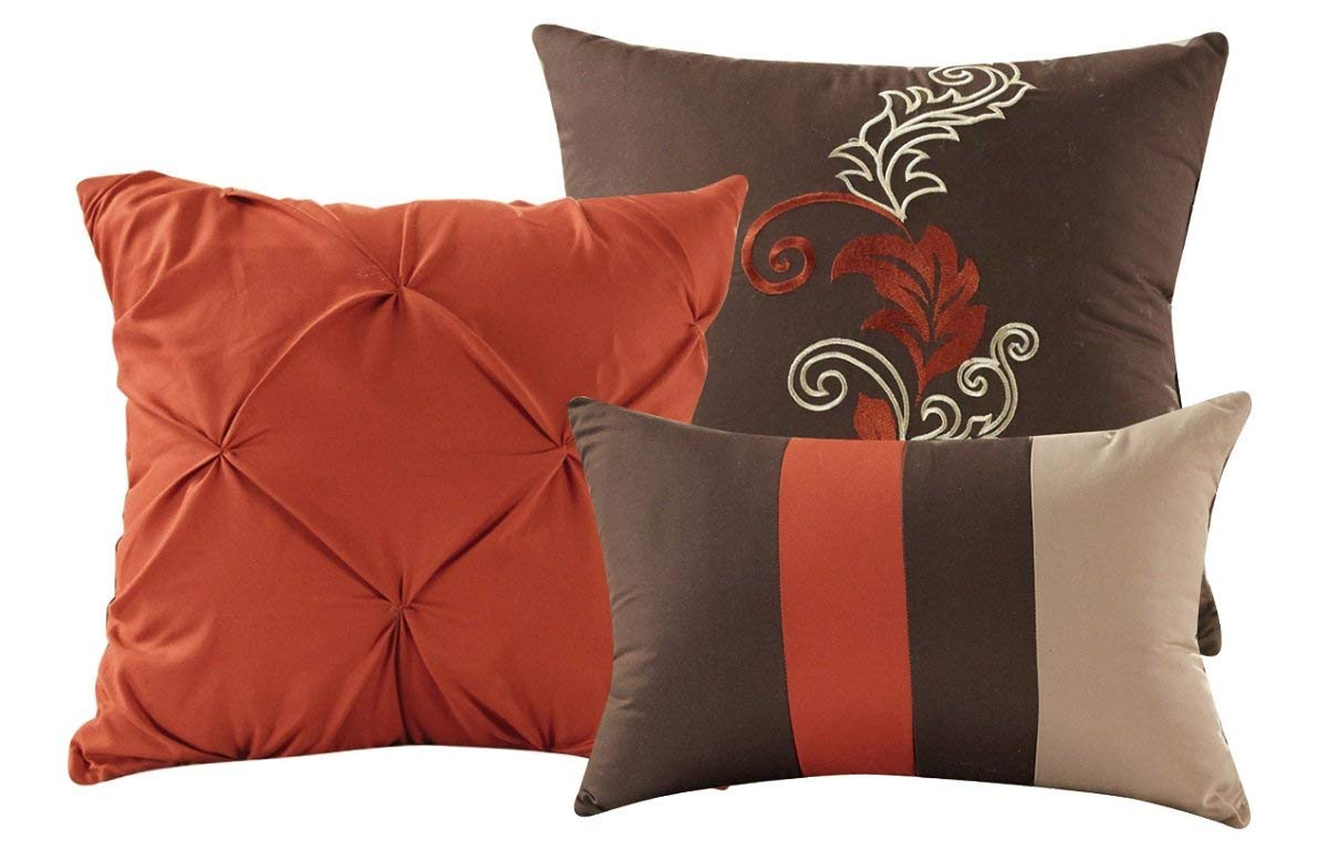 Bedding 7pc Autumn Leaves Scroll Embroidery Rust Orange Taupe Brown Comforter Set Full Home Furniture Diy Tohoku Morinagamilk Co Jp