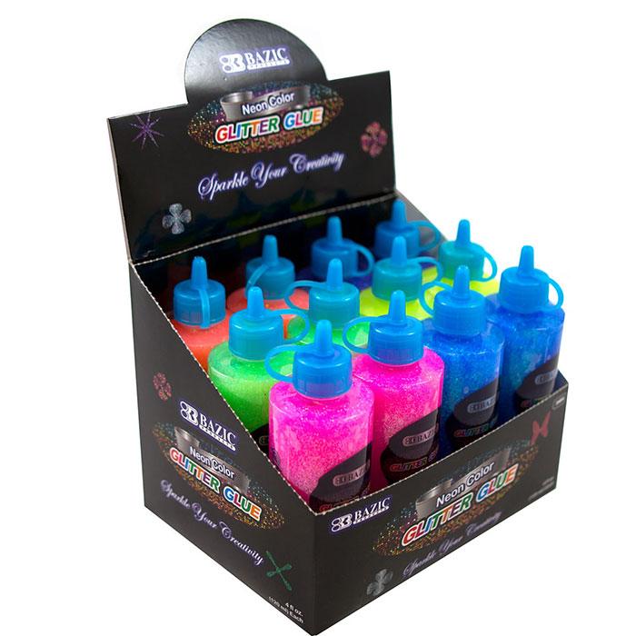 (Price/Case of 12)Bazic Products 3464-12 120 Ml Neon Color Glitter Glue