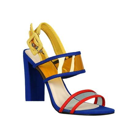 543adbff8182e Women Open Toe Clear PVC Slingback Chunky Heel 18413