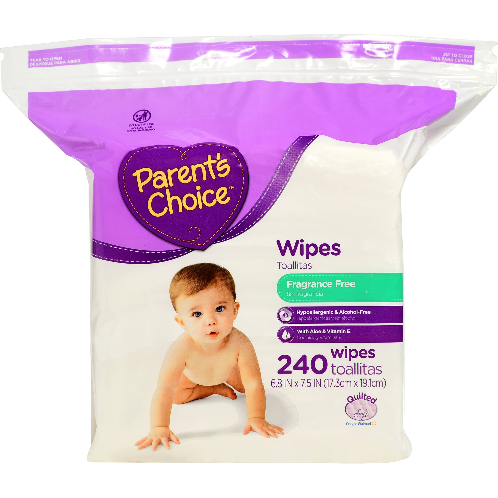 Parent's Choice Fragrance Free Baby Wipes, 240 sheets, Resealable Zipper Bag Refill