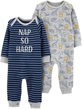 Child of Mine by Carter's Baby Boy Long Sleeve Footless Coveralls, 2-Pack