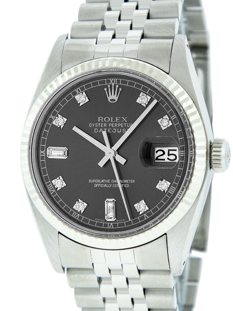 Pre-Owned Mens Datejust Steel & White Gold Slate Grey Diamond Watch 16014 Jubilee