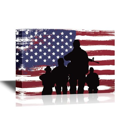 - wall26 Military Family Canvas Wall Art - Silhouette of Troops on American Flag Background - Gallery Wrap Modern Home Decor | Ready to Hang - 32x48 inches