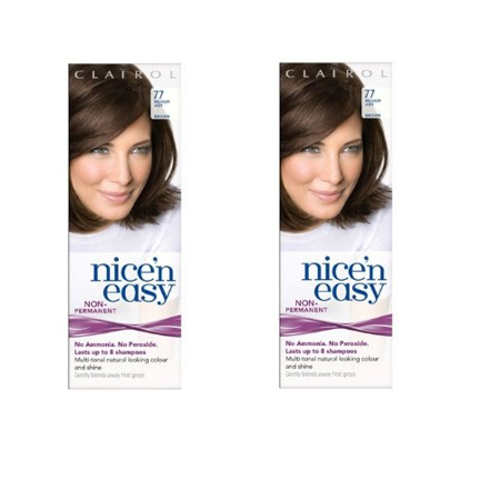 Clairol Nice N' Easy Hair Color #77, Medium Ash Brown (Pack of 2) Uk Loving Care + 3 Count Eyebrow Trimmer ()