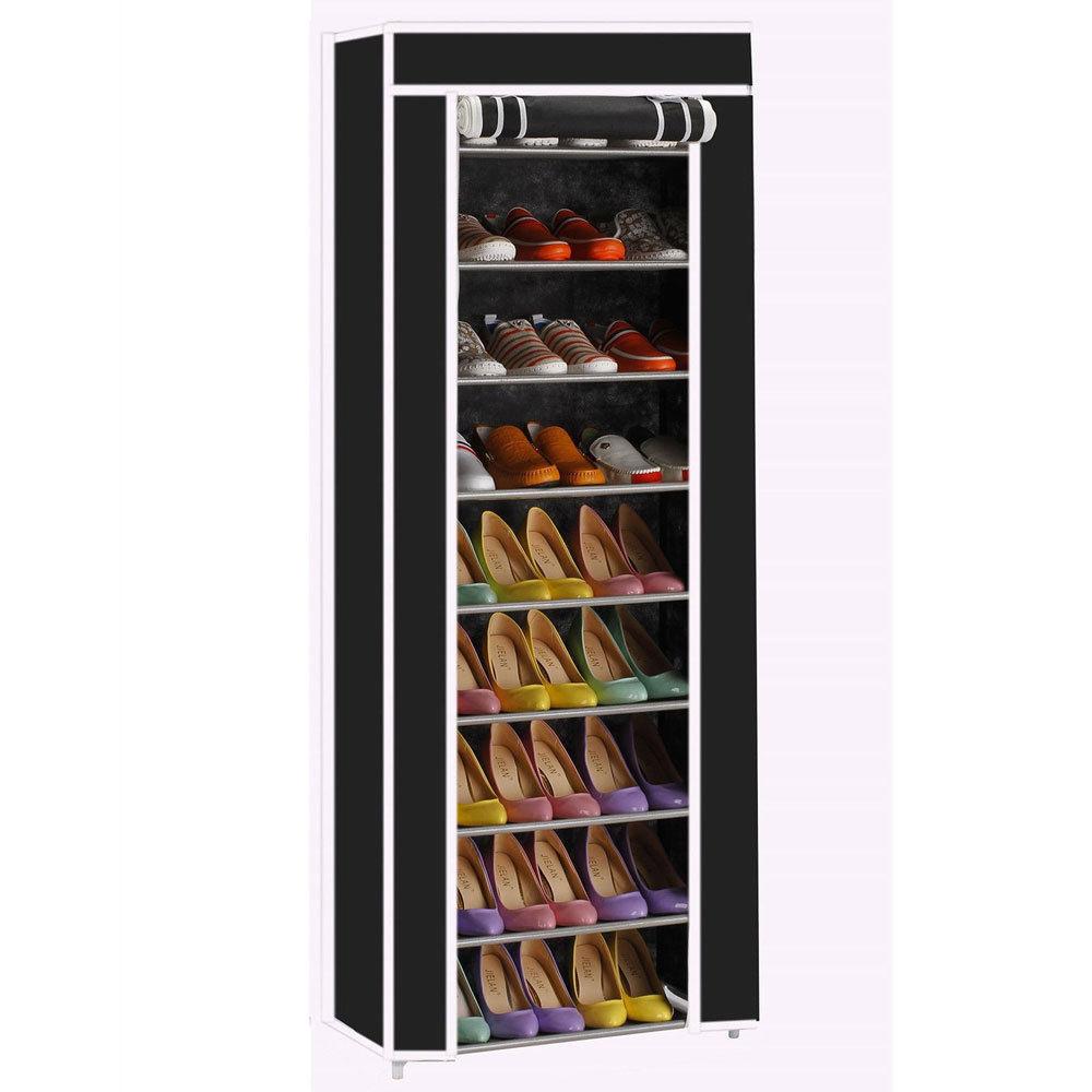 Zimtown 10 Tiers 9 Lattices Shoe Rack Shelf Storage Closet Organizer Cabinet Black