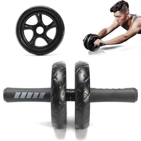 Abdominal Exercise Roller + Knee Pad Mat Abs Workout Fitness Dual Wheel Gym Tool