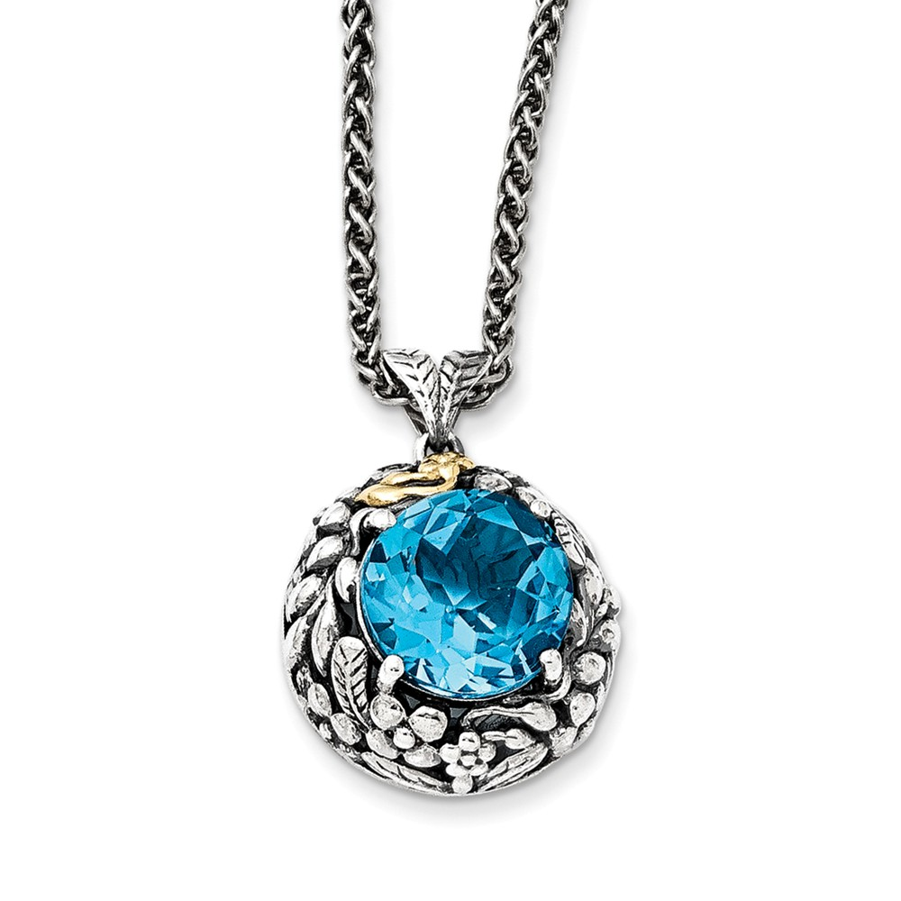 Sterling Silver With 14k Blue Topaz Necklace 7.75 cwt by Jewelryweb
