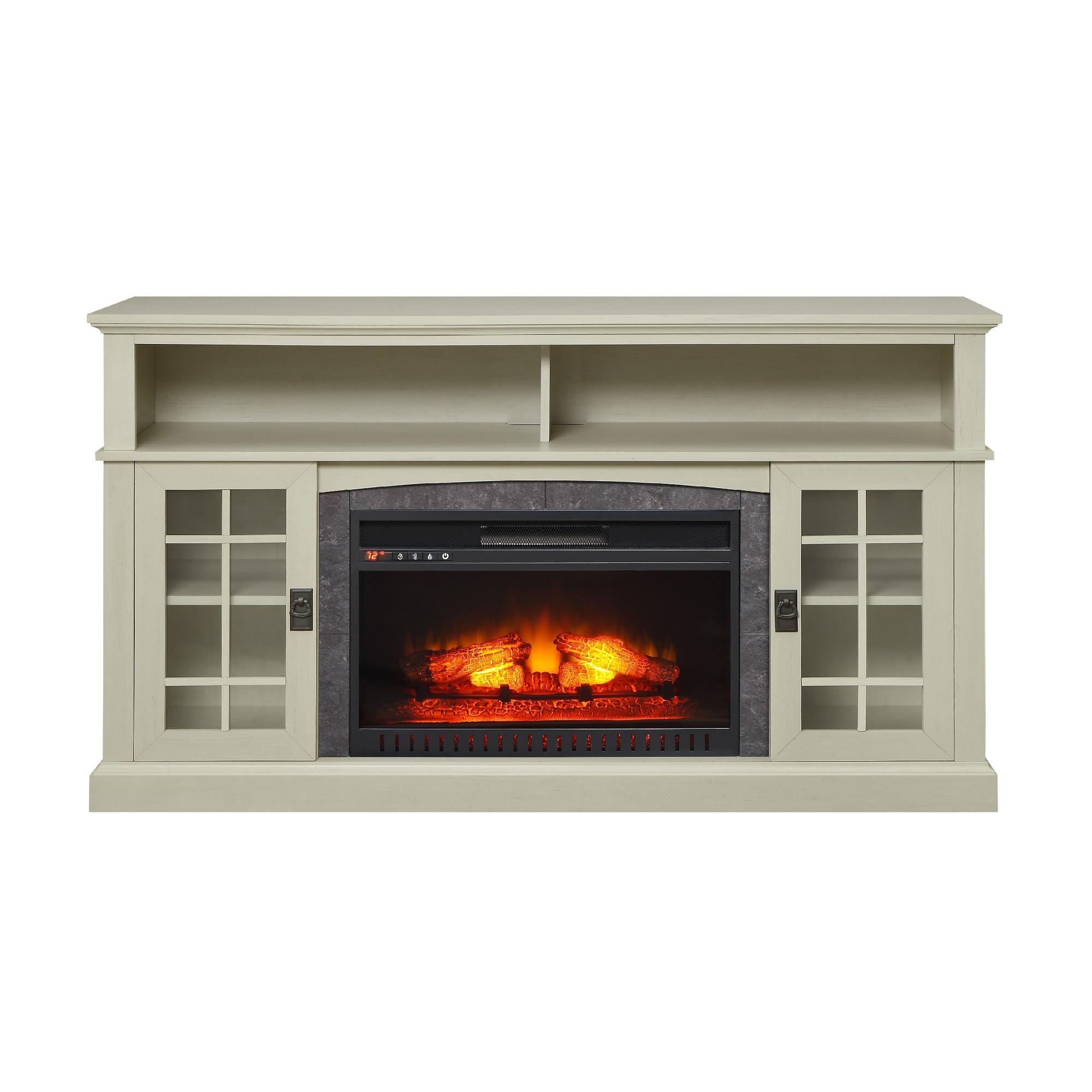 Media Fireplace Tv Stand Tvs Up To 65 Black White Electric Heater Center Wood Ebay