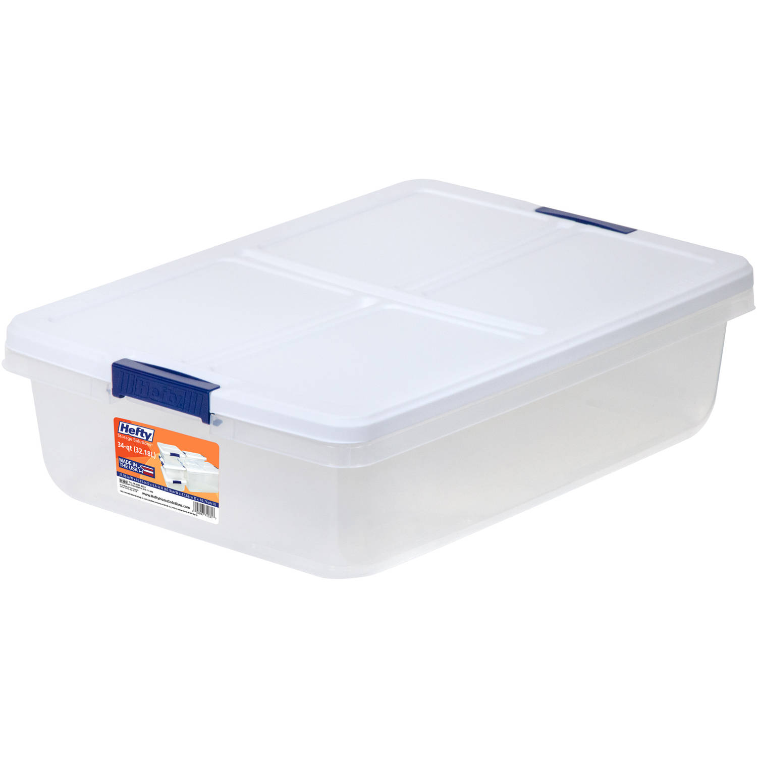 Hefty 34 Quart Latch Box Clear Base White Lid And Blue Handle