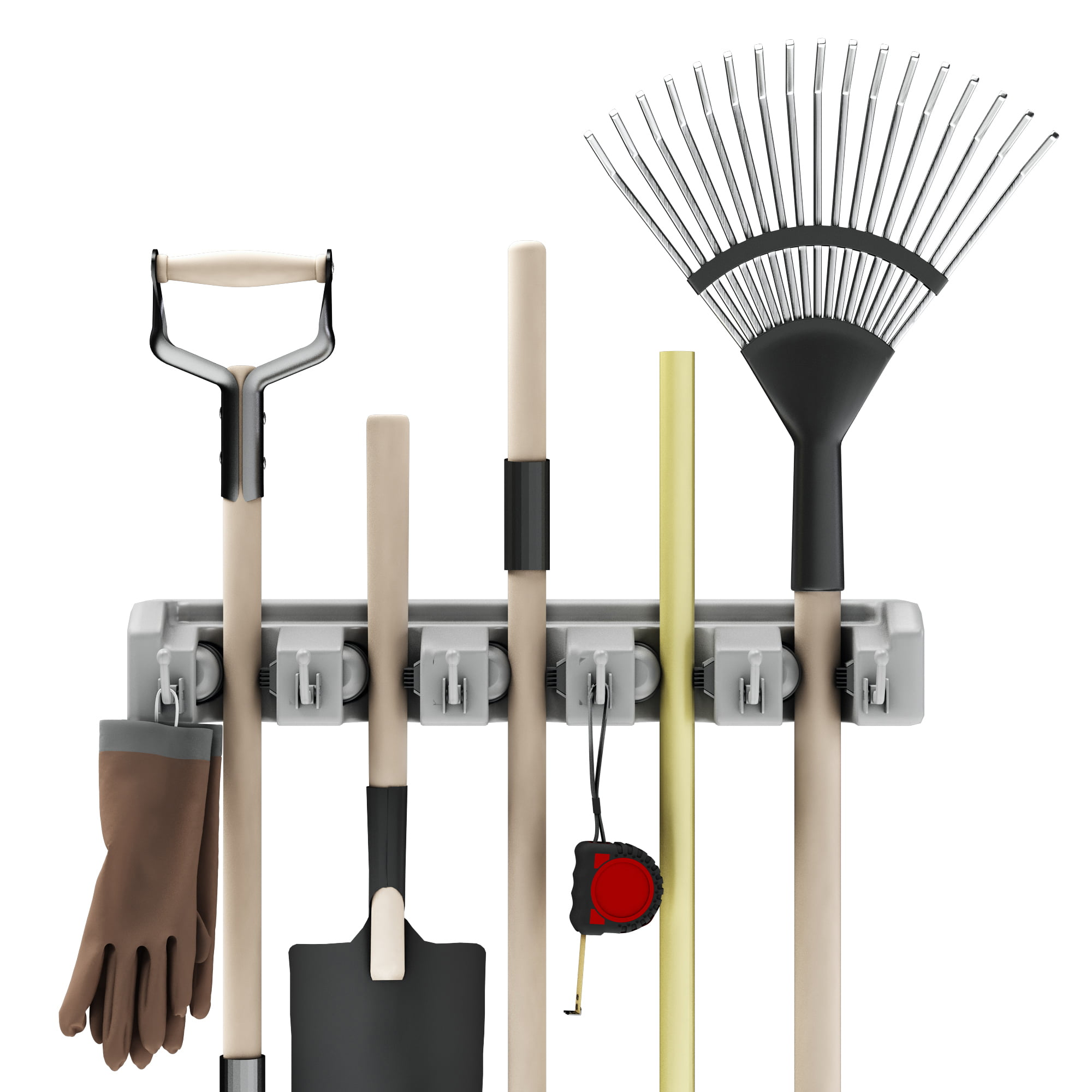Shovel Rake And Tool Holder With Hooks Wall Mounted Organizer