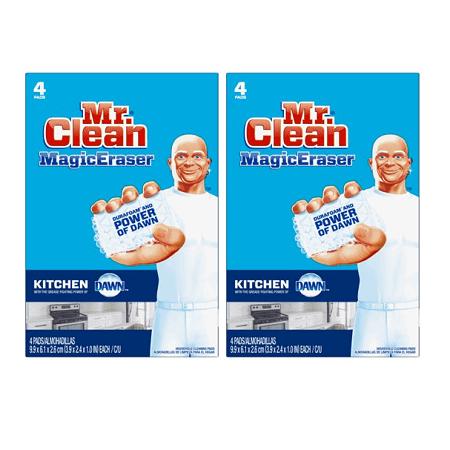 (2 pack) Mr. Clean Magic Eraser Kitchen, Cleaning Pads with Durafoam, 4 count Clean Magic Eraser Pads